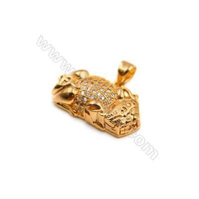 Brass Plated Gold Pendant  CZ Micropave  Brave troops  Size 14x22mm  8pcs/pack