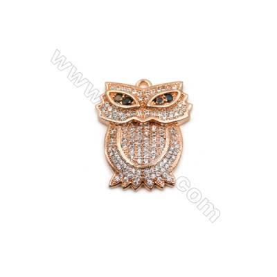 Brass Plated Ross Gold Pendant  CZ Micropave  Owl  Size 19x22mm  5pcs/pack