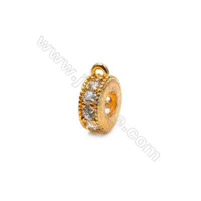 Brass Pendant (Gold Platinum)Plated  CZ Micropave  Ring  Diameter 8mm  15pcs/pack