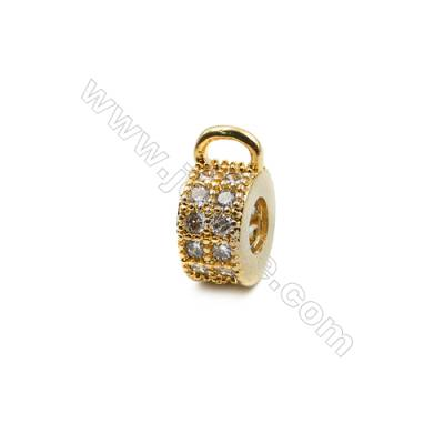 Brass Plated Gold Pendant  CZ Micropave  Ring  Diameter 8mm  12pcs/pack