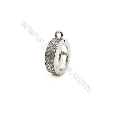 Brass Plated Platinum Pendant  CZ Micropave  Ring  Diameter 12mm  8pcs/pack