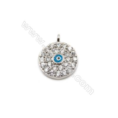 Brass Plated Platinum Pendant  CZ Micropave  Round  Diameter 10mm  15pcs/pack