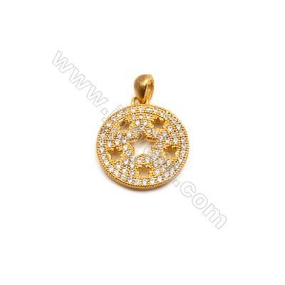 Brass Plated Gold Pendant  CZ Micropave  Round  Diameter 15mm  6pcs/pack