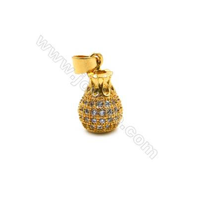 Brass Plated Gold Pendant  CZ Micropave  Vase  Size 9x12mm  8pcs/pack