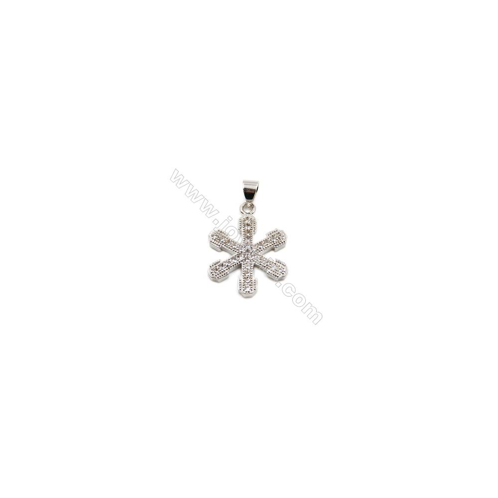 Brass Plated Platinum Pendant  CZ Micropave  Snow  Size 17x18mm  10pcs/pack