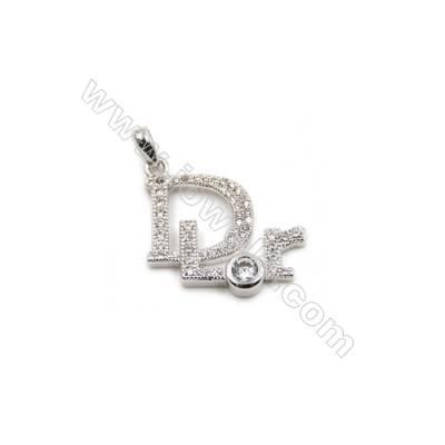 Brass Plated Platinum Pendant  CZ Micropave  DLOR  Size 19x19mm  8pcs/pack