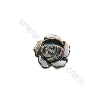 Grey Half-Drilled Shell Beads  Flower  Diameter 8mm  Hole 0.8mm  40pcs/pack