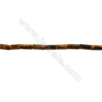 Tiger's Eye Stone Beads Strand  Cylindrical  Size 4x8mm  Hold 0.8mm  50pcs/strand  15~16""