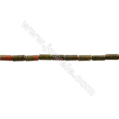 Natural Unakite Beads Strand  Cylindrical  CZ Micropave  Size 4x8mm  Hole 0.8mm  50pcs/strand 15~16""