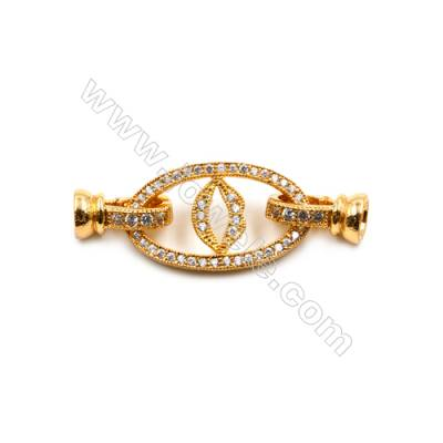 Brass Clasps  (Gold) Plated  CZ Micropave  Size 14x38mm  5pcs/pack