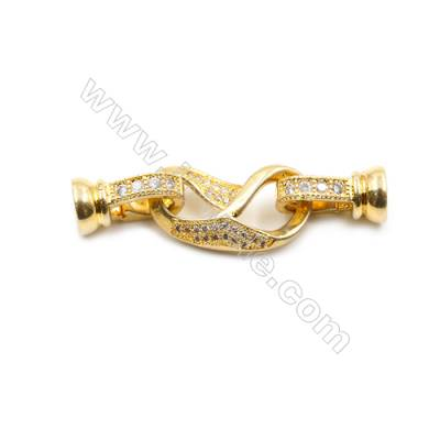 Brass Clasps  (Gold) Plated  CZ Micropave  Size 11x36mm  6pcs/pack