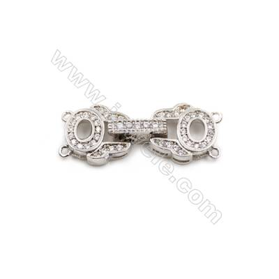 Brass Clasps  (Platinum) Plated  CZ Micropave  Size 10x26mm  6pcs/pack