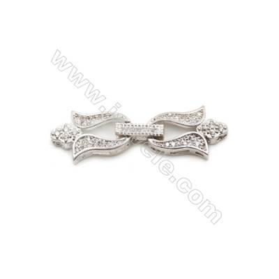 Brass Clasps  (Platinum) Plated  CZ Micropave  Size 12x36mm  6pcs/pack