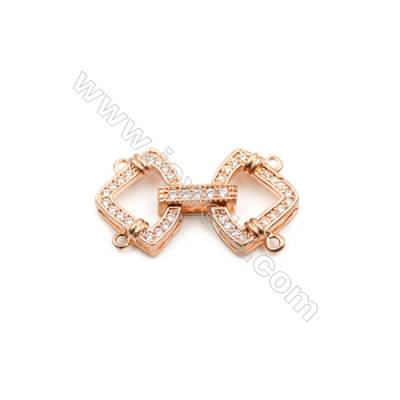 Brass Clasps  (Rose Gold) Plated  CZ Micropave  Size 15x24mm  6pcs/pack