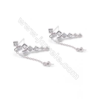 Wholesale platinum plated 925 sterling silver zircon micro pave ear stud findings for half drilled beads 7x21mm x 1pair