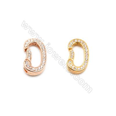 Brass Clasps  (Rose Gold Gold) Plated  CZ Micropave  Size 9x14mm  6pcs/pack