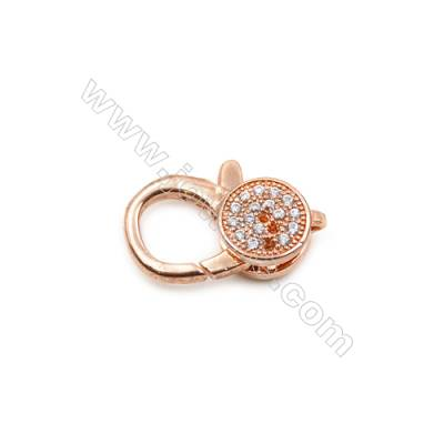 Brass Clasps  (Rose Gold) Plated  CZ Micropave  Size 9x13mm  5pcs/pack