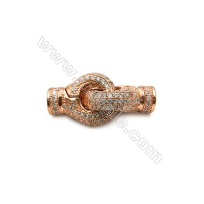 Brass Clasps  (Rose Gold) Plated  CZ Micropave  Size 13x29mm  2pcs/pack