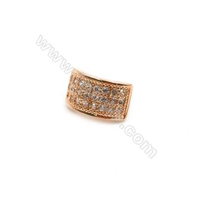 Brass Spacer Beads  (Rose Gold) Plated  CZ Micropave  Size 5x9mm  Hole 2mm  15pcs/pack