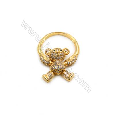 Brass Ring, (Gold) Plated, CZ Micropave, Diameter 15mm, Bear 13x17mm, 3pcs/pack