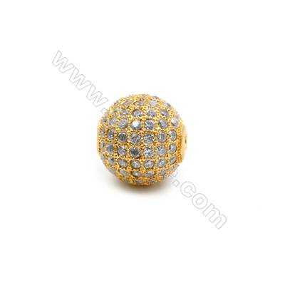 Brass Beads, (Gold) Plated, CZ Micropave, Ball 13mm, Hole 1.5mm, 5pcs/pack