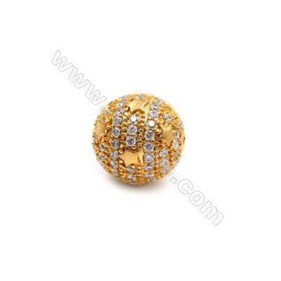 Brass Beads, (Gold) Plated, CZ Micropave, Ball 11mm, Hole 1mm, 8pcs/pack