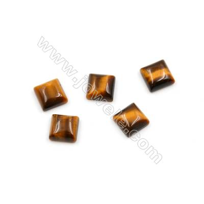 Natural Tiger's Eye Stone Cabochons  Square Size 6x6mm  Thick 3mm  50pcs/pack