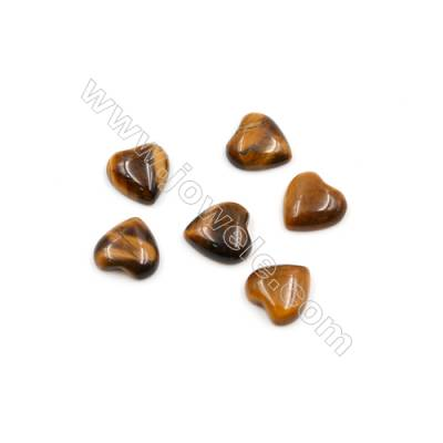 Natural Tiger's Eye Stone Cabochons  Heart  Size 10x10mm  Thick 3.5mm  30pcs/pack