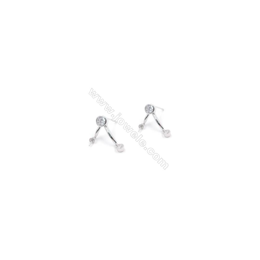 Wholesale platinum plated 925 sterling silver zircon micro pave ear stud findings for half drilled beads 9x15mm x 1pair