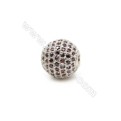 Brass Beads, (Platinum) Plated, CZ Micropave, Ball 8mm, Hole 1.5mm, 3pcs/pack