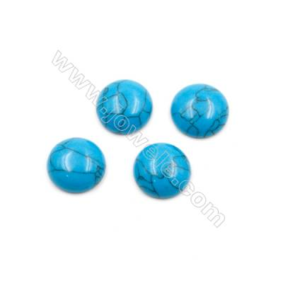 Turquoise Gemstone Cabochon  Round  Synthesis  Size 14mm Thick 5mm  80pcs/pack