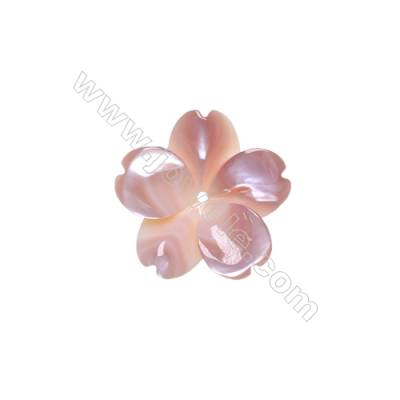 Five-leaf flower pink shell mother-of-pearl, 20mm, hole 1mm, 10 pcs/pack