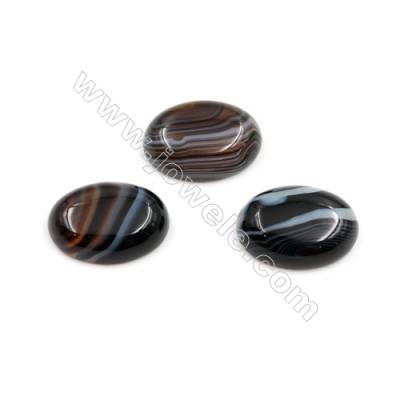 Black Agate Cabochon  Oval  Size 18x25mm Thick 6mm  30pcs/pack