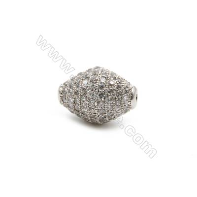 Brass Beads, (Platinum) Plated, CZ Micropave, Size 12x16mm, Hole 1.5mm, 5pcs/pack
