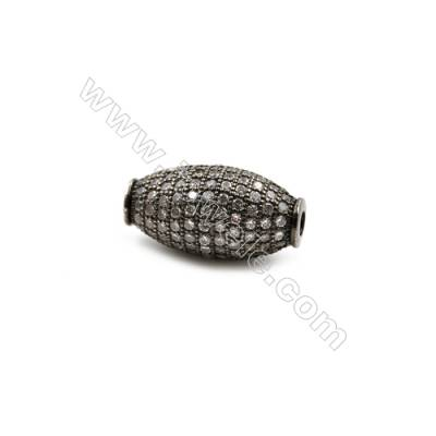 Brass Beads, (Gun Black) Plated, CZ Micropave, Size 11x20mm, Hole 2.5mm, 5pcs/pack
