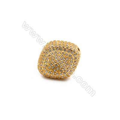 Brass Beads, (Gold) Plated, CZ Micropave, Size 17x19mm, Hole 1.5mm, 3pcs/pack