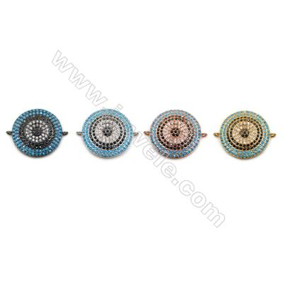 Brass Connectors, (Gold, Platinum, Rose Gold, Gun Black) Plated, CZ Micropave, Spear, Size 19mm, Hole 0.8mm, 4pcs/pack