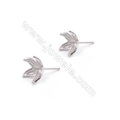 Wholesale petals platinum filled 925 sterling silver zircon ear stud findings for half drilled beads 11mm x 1pair
