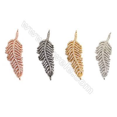 Brass Connectors, (Gold, Platinum, Rose Gold, Gun Black) Plated, CZ Micropave, Leaves, Size 15x40mm, Hole 1mm, 6pcs/pack