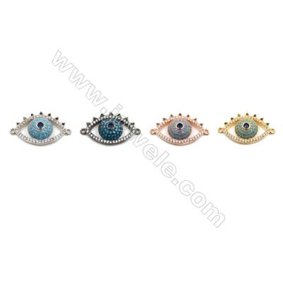 Brass Connectors, (Gold, Platinum, Rose Gold, Gun Black) Plated, CZ Micropave, Eye, Size 19x24mm, Hole 1mm, 5pcs/pack