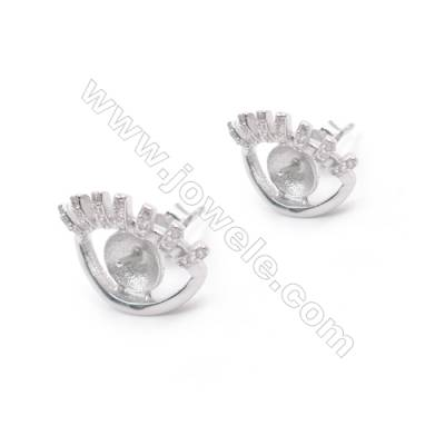 Zircon micro pave platinum plated 925 silver cute-eye ear stud findings for half drilled beads  14x18mm x 1pair