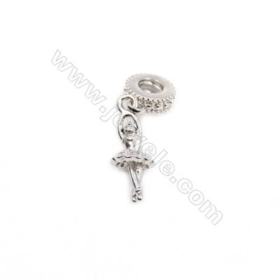 Brass Plated Platinum Pendant  CZ Micropave Ballet girl,Size 8x19mm  8pcs/pack