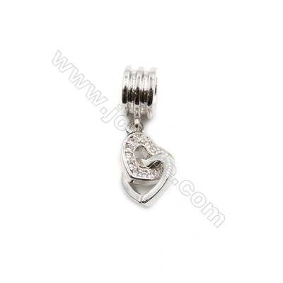 Brass Plated Platinum Pendant  CZ Micropave  Heart to heart  Size 8x8mm  8pcs/pack