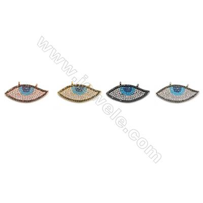 Brass Connectors, (Gold, Platinum, Rose Gold, Gun Black) Plated, CZ Micropave, Eye, Size 11x29mm, Hole 1mm, 5pcs/pack