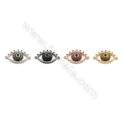 Brass Connectors, (Gold, Platinum, Rose Gold, Gun Black) Plated, CZ Micropave, Eye, Size 14x24mm, Hole 1mm, 6pcs/pack