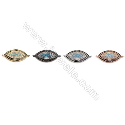 Brass Connectors, (Gold, Platinum, Rose Gold, Gun Black) Plated, CZ Micropave, Eye, Size 16x34mm, Hole 1.5mm, 4pcs/pack