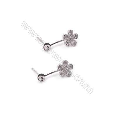 Zircon micro pave 925 sterling silver platinum plated floral ear stud findings for half drilled beads-E2786 8x19mm x 1pair