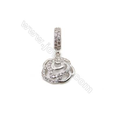 Brass Plated Platinum Pendant  CZ Micropave  Roses  Size 14x14mm  6pcs/pack