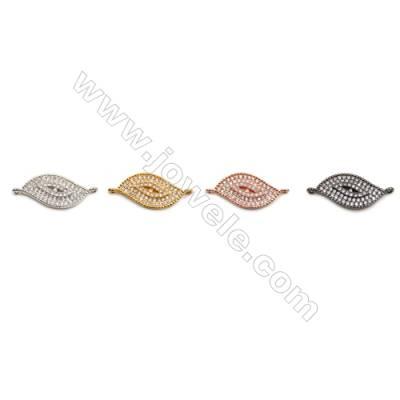 Brass Connectors, (Gold, Platinum, Rose Gold, Gun Black) Plated, CZ Micropave, Eye, Size 10x24mm, Hole 1mm, 10pcs/pack