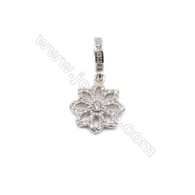 Brass Plated Platinum Pendant  CZ Micropave  Snow  Size 13x15mm  6pcs/pack